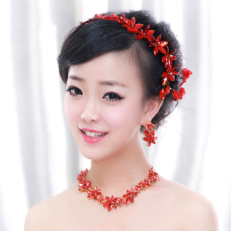 Crown Tiara Wedding bride jewelry red crystal 3 pcs/set necklace earrings crown hair red jewelry sets(China (Mainland))