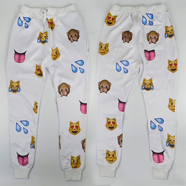 HOT EMOJI style print pants funny cartoon sweatpants black & white long joggers loose trousers sportswear women mens clothes(China (Mainland))
