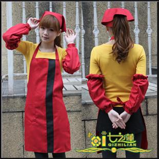 Wholesale new restaurant aprons pot shop apron 20 dark red apron + scarf + sleeves Parure(China (Mainland))