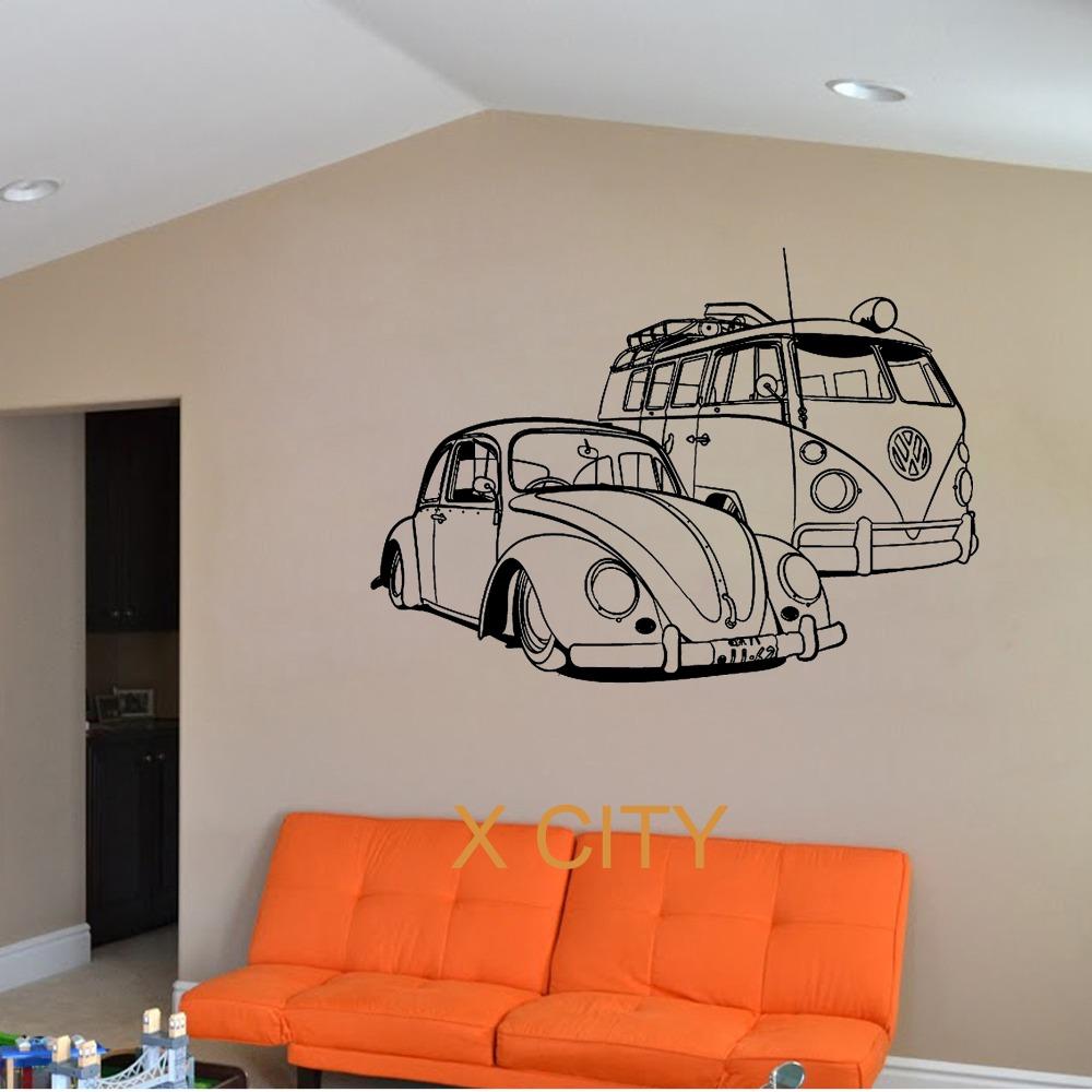 FOR VW Camper Van And VW Beatle Car club Vinyl Wall Decal Art Decor Sticker Living Room Door Stencil Mural(China (Mainland))