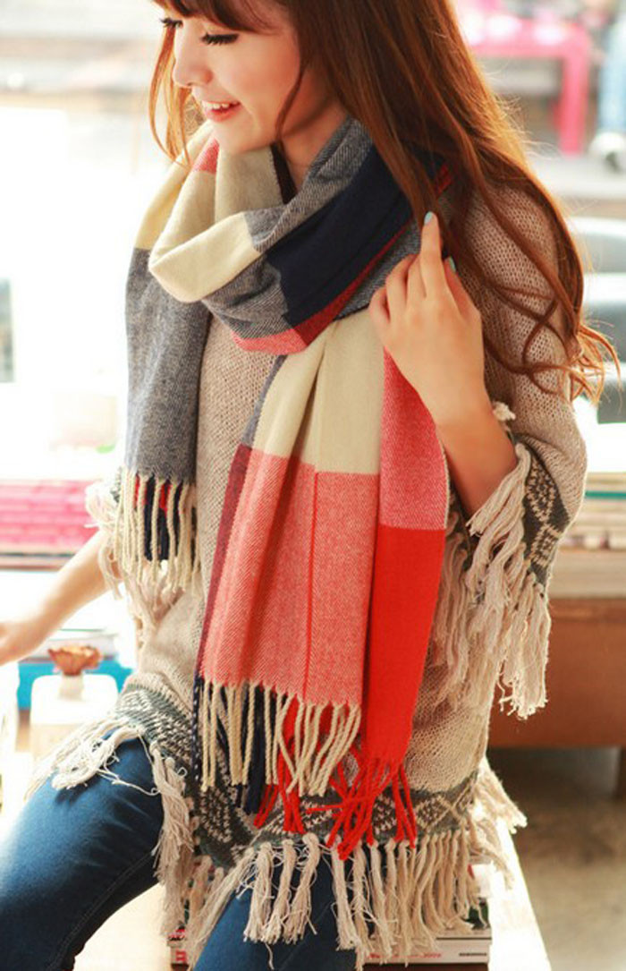 190cmx65cm Fashion Wool Winter Scarf Women Spain Desigual Scarf Plaid Thick Brand Shawls and Scarves Women Cotton Long Scarfs