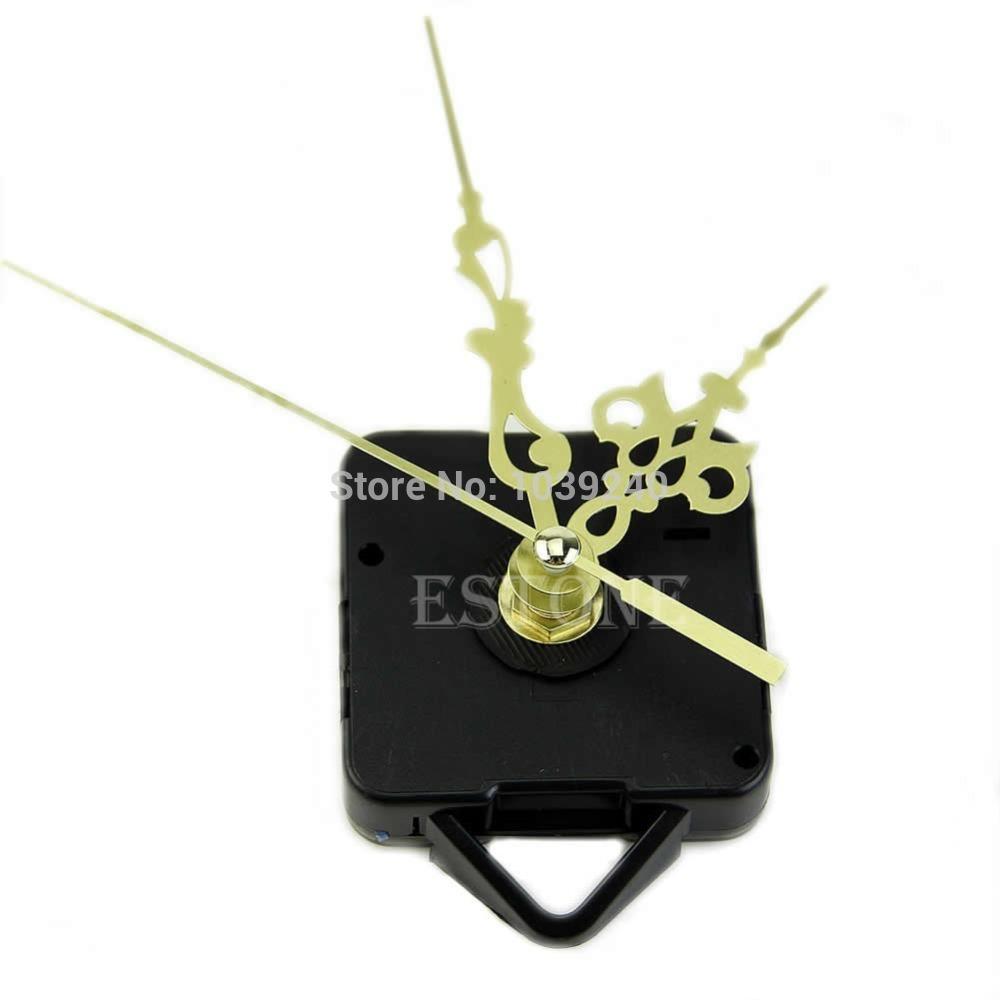 E74 Free Shipping Quartz Clock Movement Mechanism Gold Hands DIY Replace Repair Parts Kit New 03(China (Mainland))