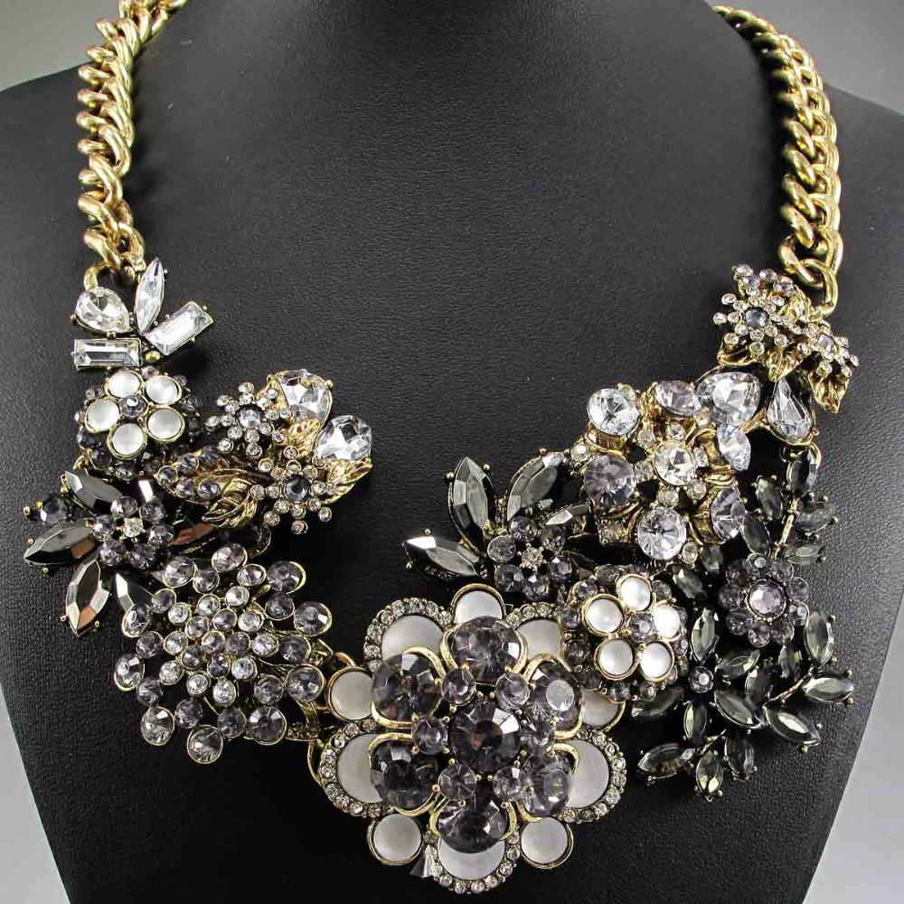 Newest Gorgeous Fashion Black Pink Blue crystal Department bib Statement Necklace Women Choker Necklaces & Pendants Q610 740~1(China (Mainland))