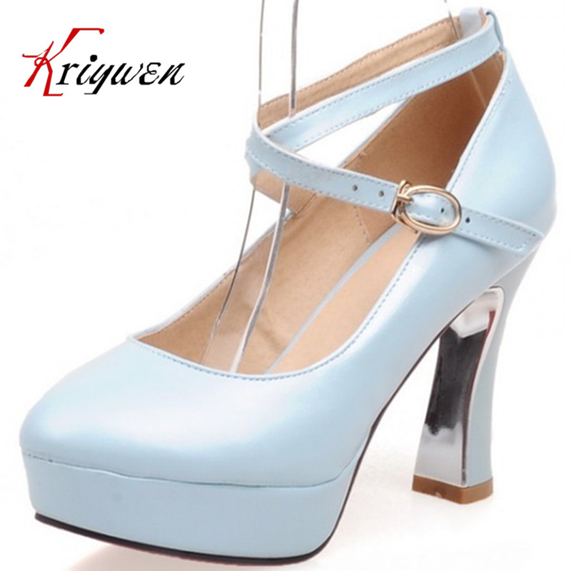 2015 New autumn High quality candy colors round toe thick high heels ladies sexy platforms lady pumps Girl platforms Party shoes(China (Mainland))