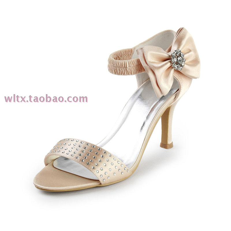 Aineny99 Bridal Shoes Open Toe Shoes Womens Champagne Color Wedding Shoes Ultra High Heels