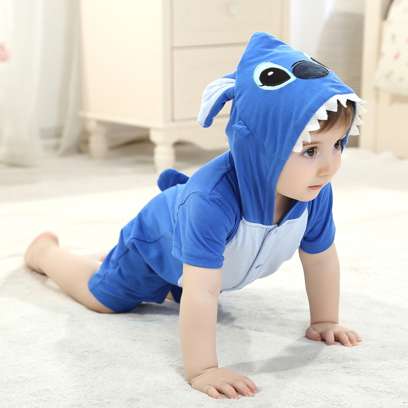 Summer Baby Clothes Short Sleeve Rompers Cartoon Animal Stitch Panda Cosplay Photo Props Jumpsuit Newborn Infant Sleepers Hooded(China (Mainland))