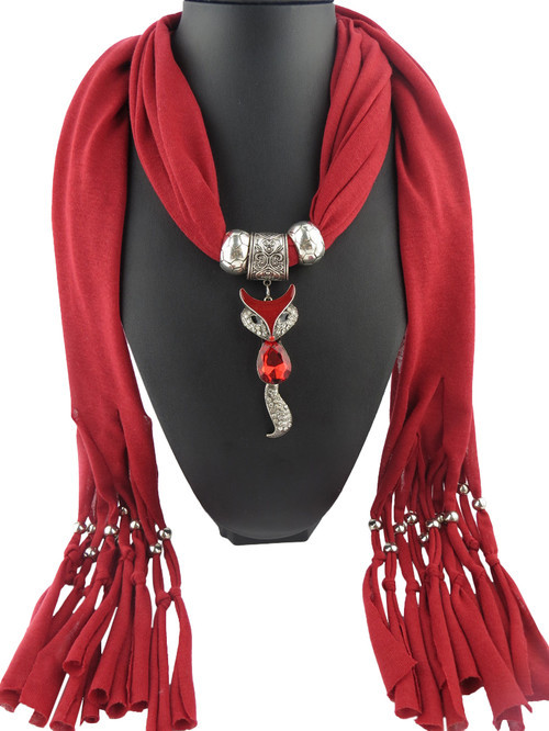 Wholesale 6 Colors Cute Fox Pendant Scarf Women Retro Fashion Scarfs Fringed Necklace Scarves Jewelry(China (Mainland))