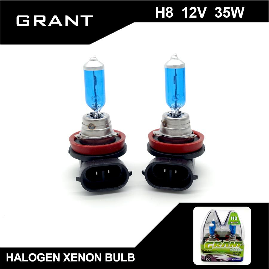 1Set GRANT 35W H8 Halogen Xenon Bulbs 12V 5000K Pure White Quartz Glass Auto Foglights Headlamp For saab volvo Free Shipping(China (Mainland))