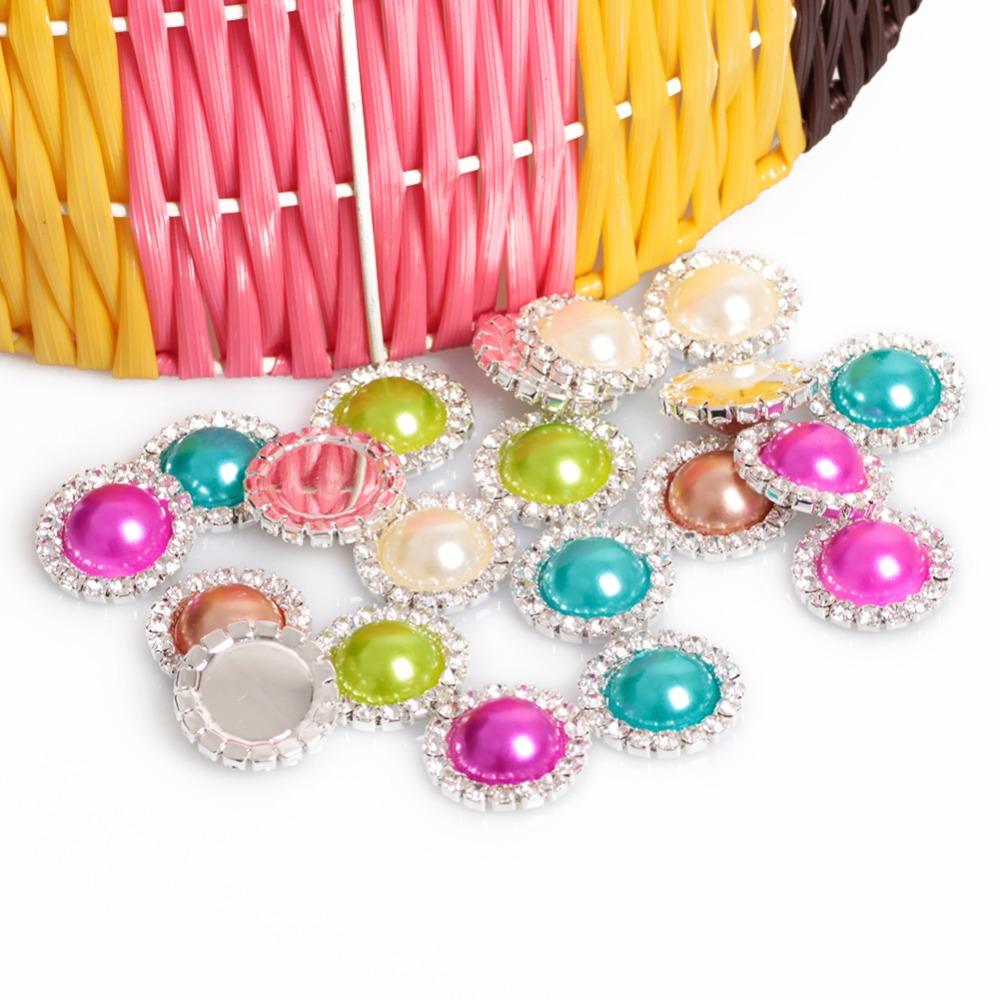 Hot Sale10pcs/lot Round Metal Rhinestone Diamond Buckle Pearl Button Wedding Embellishment Scrapbooking Flower Center 5colors(China (Mainland))