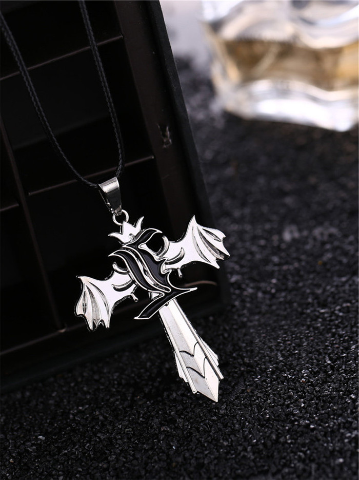 Movie Death note L logo Cross wing Rotatable Pendant Necklace Silver Plated Rope Leather Necklace Jewelry Gifts HF10163(China (Mainland))