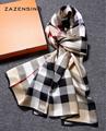 175 55cm 100 Real Plaid Silk Scarf Luxury Brand Echarpe Foulard 2016 Women s Bandanas Female