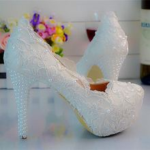 White Lace Pearls Women Wedding Shoes High Heel Platform Bridal Shoes Sexy Lace Party Shoes For Women Big Size Eu34-45