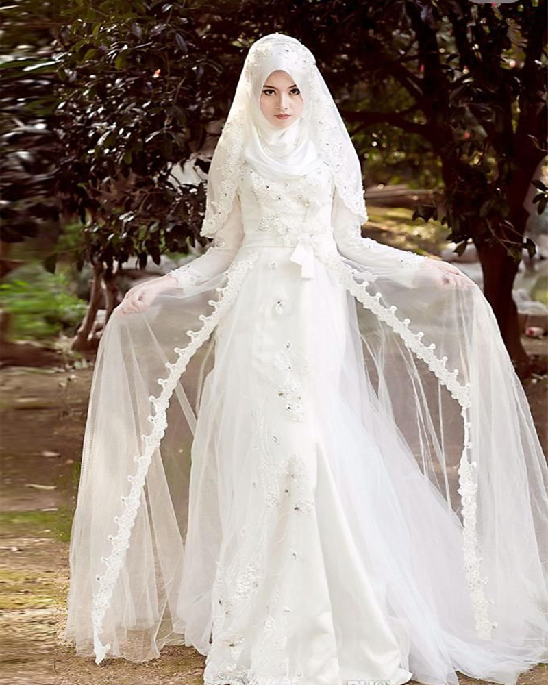 Vestidos de novia lace muslim wedding dress long sleeve for Muslim wedding dress photo