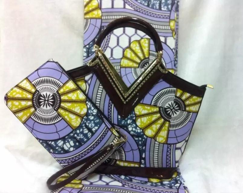 F7-002!! free shipping wax handbags!! african wax bag with matching wax fabric 6yards