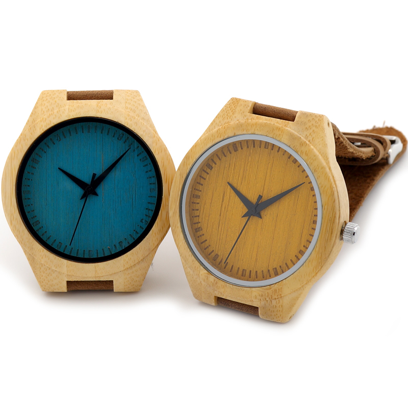 Blue Yellow Painted Handmade Craft Men's Wood Wristwatches Men's Luxulry Dress Watches Japanses Movement Quartz Wood Watches(China (Mainland))
