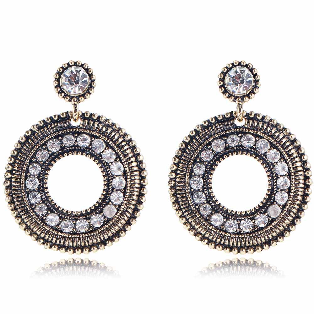 YaYi White Glass Rhinestone Earring Women's Fashion Ancient Gold Earrings gems Round Earrings For Women Girls E997(China (Mainland))