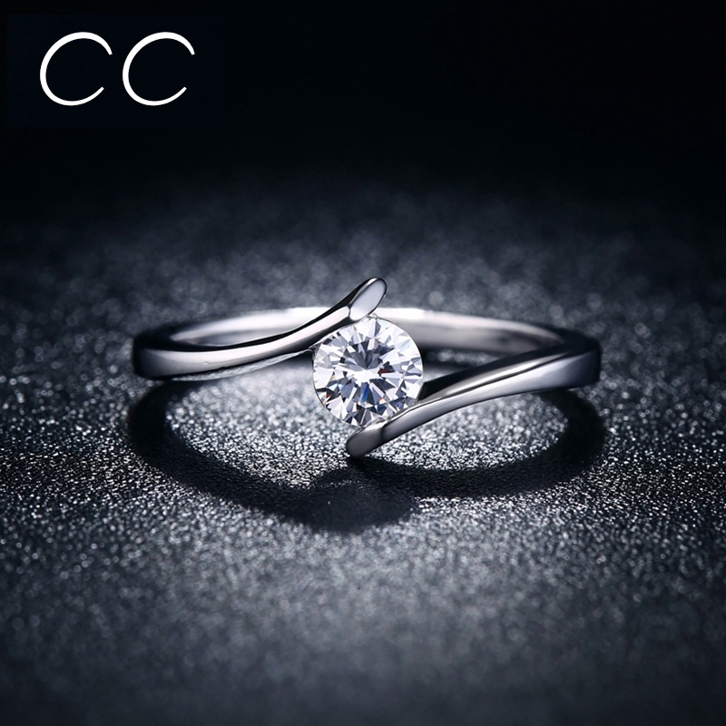 Simple design Engagement Ring White Clear Zirconia Classic Wedding Rings for