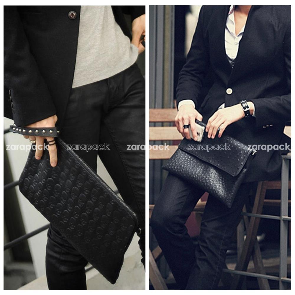 Designer Men Elegant Ostrich Texture Business Clutch Bag Handbag Crossbody Shoulder Bag Messenger Bag 2 Style(China (Mainland))