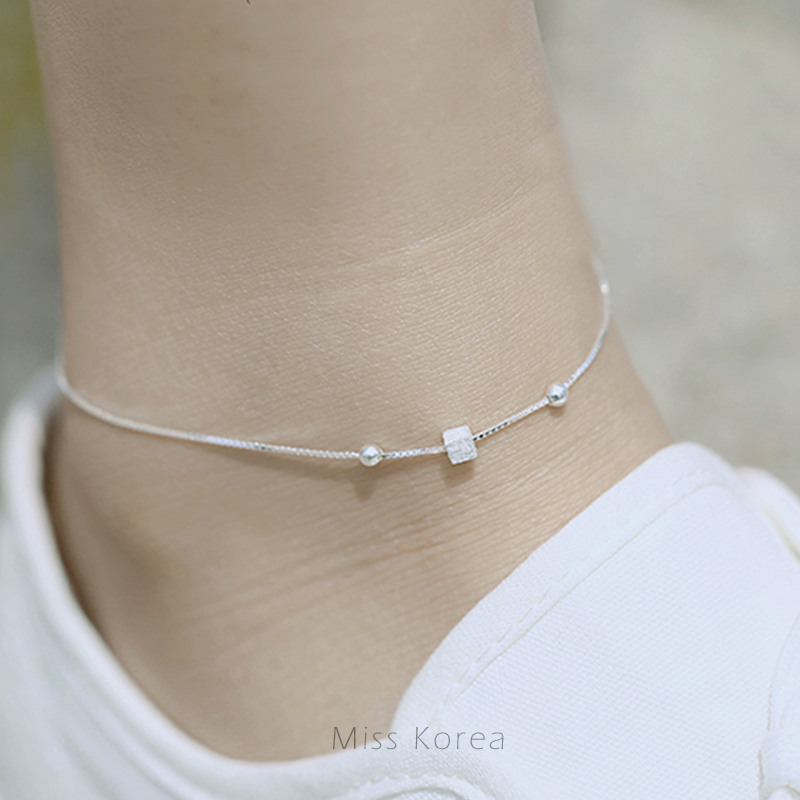 New fashion s925 sterling silver Anklet for women jewelry simple geometric square anklet F028PYB tobillera drop shipping(China (Mainland))