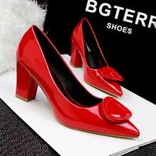 Size 34-39 Women Thick high heels Pointed OL Pumps fashion women Pump 6 color women shoes Wedding Shoes Sapato Feminino