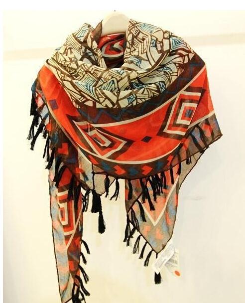 Богемия геометрическая кисточкой народном Большой размер длинный шарф шаль дизайнер марки 2016 новых мужчин W1043