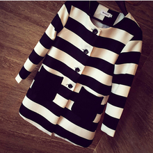 2015 New Autumn Women Outerwear Striped Printed Jacket Slim Casual Coat(China (Mainland))