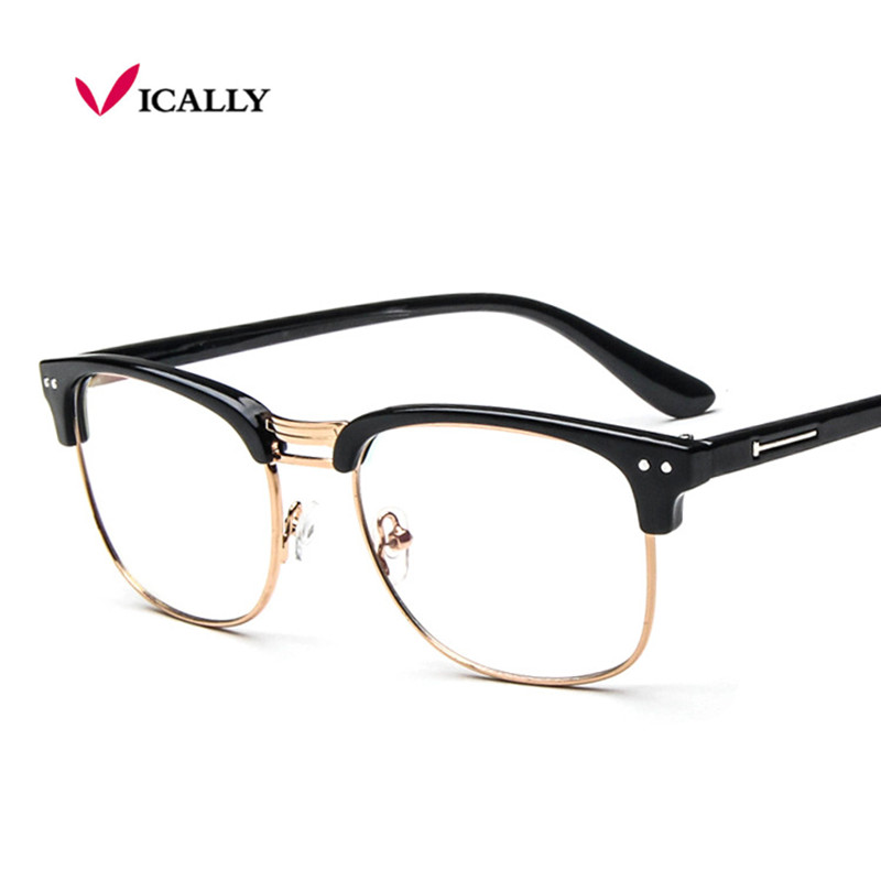 fashion metal half frame glasses frame retro woman men reading glass uv protection clear lens computer