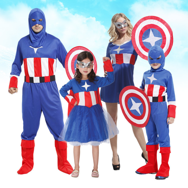 Free shipping Captain America cosplay suit adult men and women dance parties Halloween costume Christmas child superhero costume(China (Mainland))