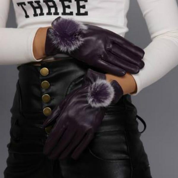 1 пара женщин мода красивая водонепроницаемый кролик меха мяч кожаные перчатки зимние перчатки варежки