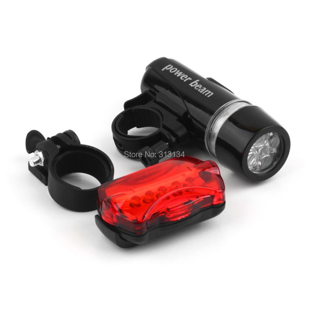 1Set Waterproof 5 LED Lamp Bike Bicycle Front Head Light+Rear Safety Flashlight Black bike bicycle accessories(China (Mainland))
