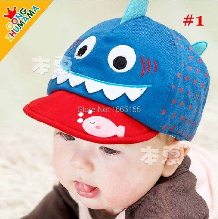 Lovely Shark Design Baby Hat Lasted Autumn/Spring Baby infant Baseball Caps Boy&Girl Hat Baby Sports Caps 1pc/opp Free shiiping(China (Mainland))