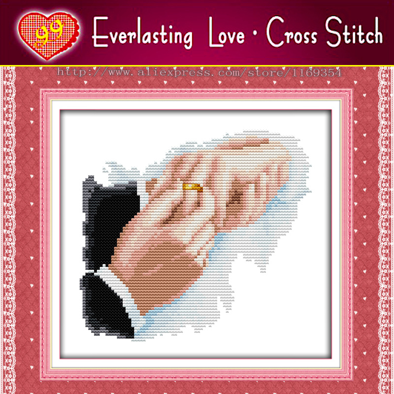 Hold hands in hand love couple ring decor paintings DMC 11CT pattern print on fabric needlework Set embroidery Cross Stitch kits(China (Mainland))