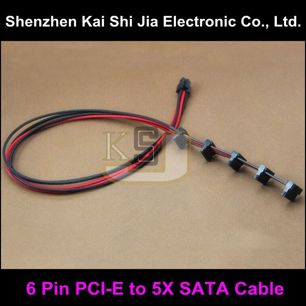 Black & Red Single Sleeved 6 Pin PCI-E to 5X SATA 15Pin Modular Power Supply Cable For Corsair AX650 AX750 AX850(China (Mainland))