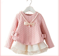 2014 autumn and Winter girls' basic dress princess pearl and bow Decoration dress children lace Splice clothing Free drop shippi