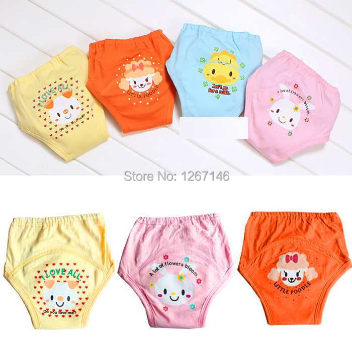 4pcs/set Baby Training Pants Trainer For Toddler Potty 4 Layers Waterproof Cloth Diapers and Nappies B094u6(China (Mainland))