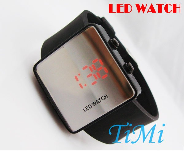 New Stylish Mirror LED Digital Date Black Sport Watch silicone watch<br><br>Aliexpress
