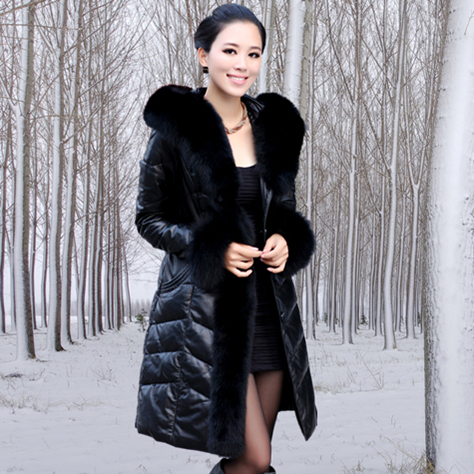 Free Shipping Hot Genuine Leather Down Jacket Genuine Sheepskin Leather Down Coat Plus Size Fox Fur Collar Fur Long Coat / S-5XLОдежда и ак�е��уары<br><br><br>Aliexpress