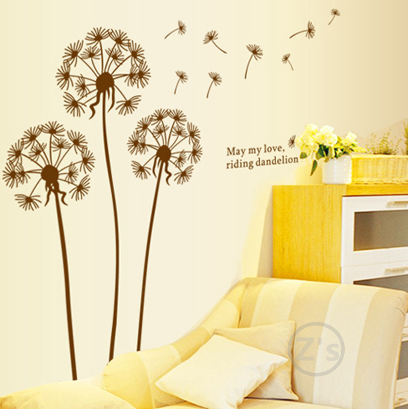 Brown flowers flying fairy dandelion vinyl wall sticker home decor wallsticker AY695(China (Mainland))
