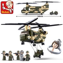 Sluban Air Force Military CH-47 Transport Helicopter Construction Model Building Blocks Toys Compatible With Legoe Minifigure