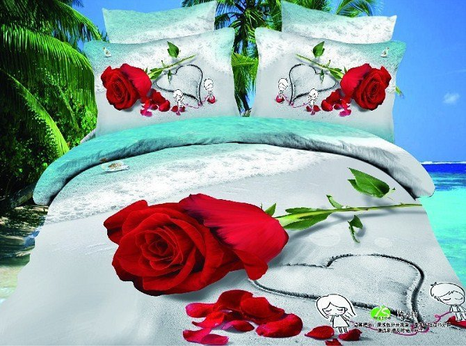 red rose bed set 3d bedding set green leaves bed spreads honey heart drawing 3d bed clothes cotton boy girl comforter cover2921(China (Mainland))
