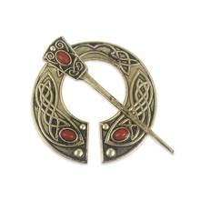 Qihe Perhiasan Viking Penannular Jubah Pin Gesper Logam Merah Batu Abad Pertengahan Viking Bros Viking Perhiasan untuk Pria(China)