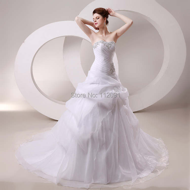 Grace Pleated Organza Wedding Dresses Princess Ball Gown Beading Crystal Bridal Gown With Train vestidos de novia In Stock SW028(China (Mainland))