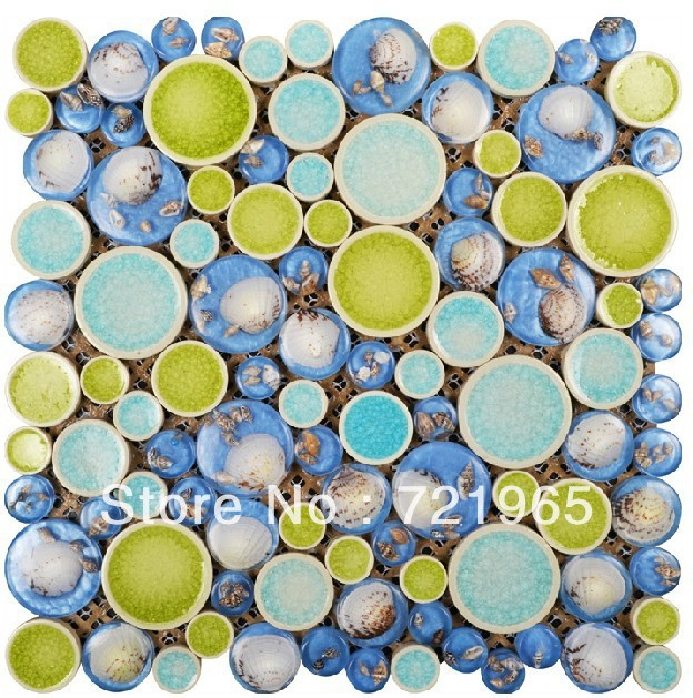 Blue glass shell mosaic wall tile kitchen backsplash RNMT071 ceramic green glass mosaic for bathroom wall & floor tiles(China (Mainland))