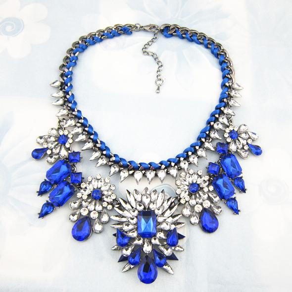 2015 Fashion Necklace Shourouk Chain Chunky Statement Necklace Pendant Wholesale Jewelry Blue Crystal Choker Necklace Women