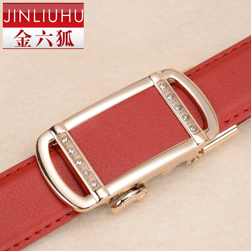 Gold Women strap genuine leather women's automatic buckle belt red cowhide belt fashionable casual all-match(China (Mainland))