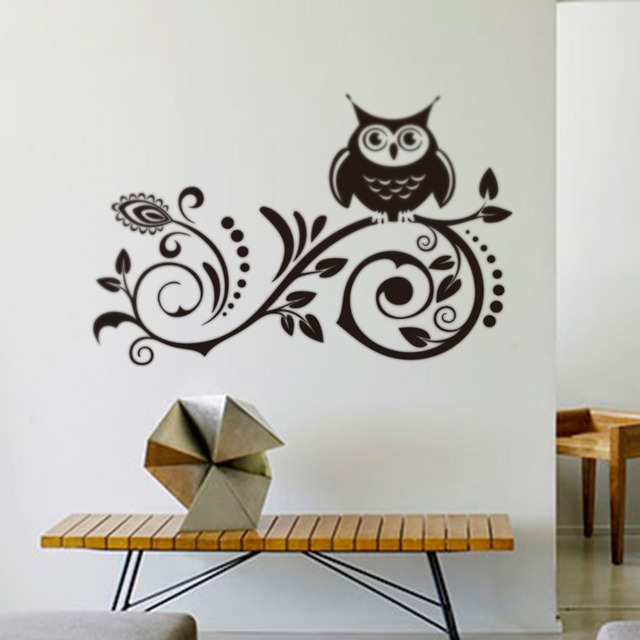 Сова творческий черный сова птица дерево съемный наклейка стикера стены искусства комната декора 8239