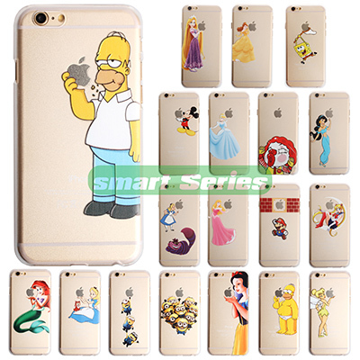New Fasion Transparent Hard Case For iPhone 6 plus 5.5 Shell Simpsons Snow White Hand Graps the Logo Cellphone Back Cover Case(China (Mainland))