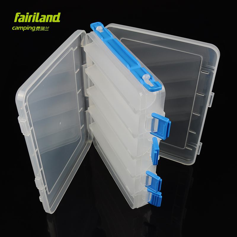 12 partitions DOUBLE side lure bait boxes Transparent bait organizer w/ hefty latches and HANDLE multifunctional fishing storage(China (Mainland))