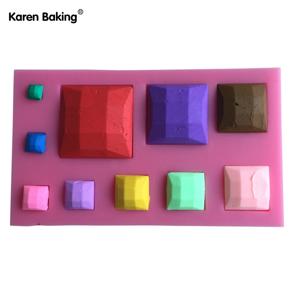 Square Stone Shape 3D Fondant Silicone Cake Lace Mold Tools Bakeware ---C615(China (Mainland))