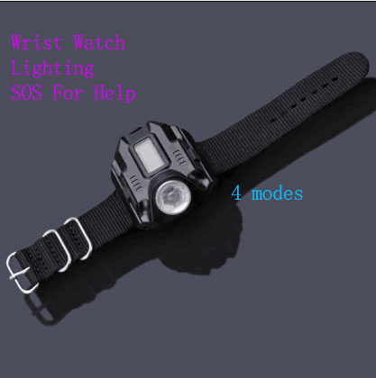 2016 Portable XPE R2 LED Wrist Watch Flashlight Torch Light USB Charger Tactical Rechargeable Flashlight Easy Carry
